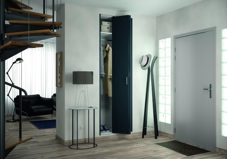 Porte pliante m tallique kazed gris anthracite pour installation sur b ti existant de 765 - Porte placard pliante metallique ...